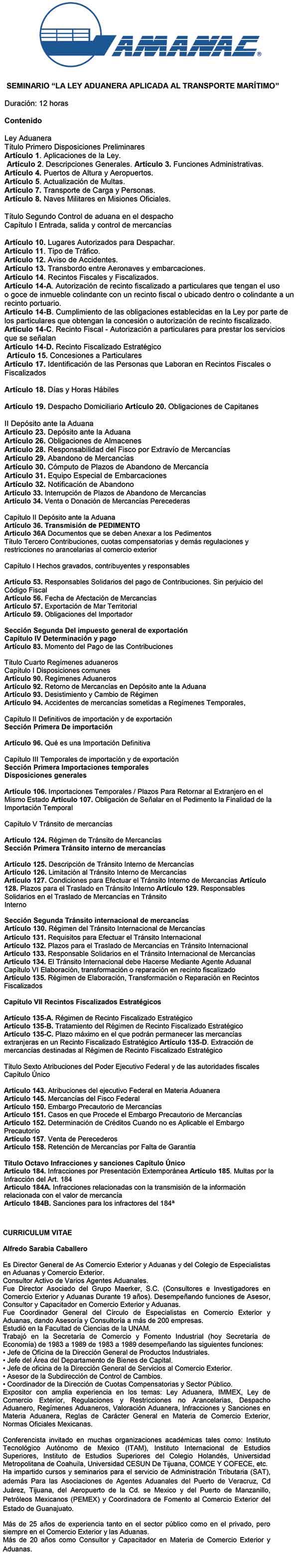 Curso Ley Aduanera Mariíima 2017